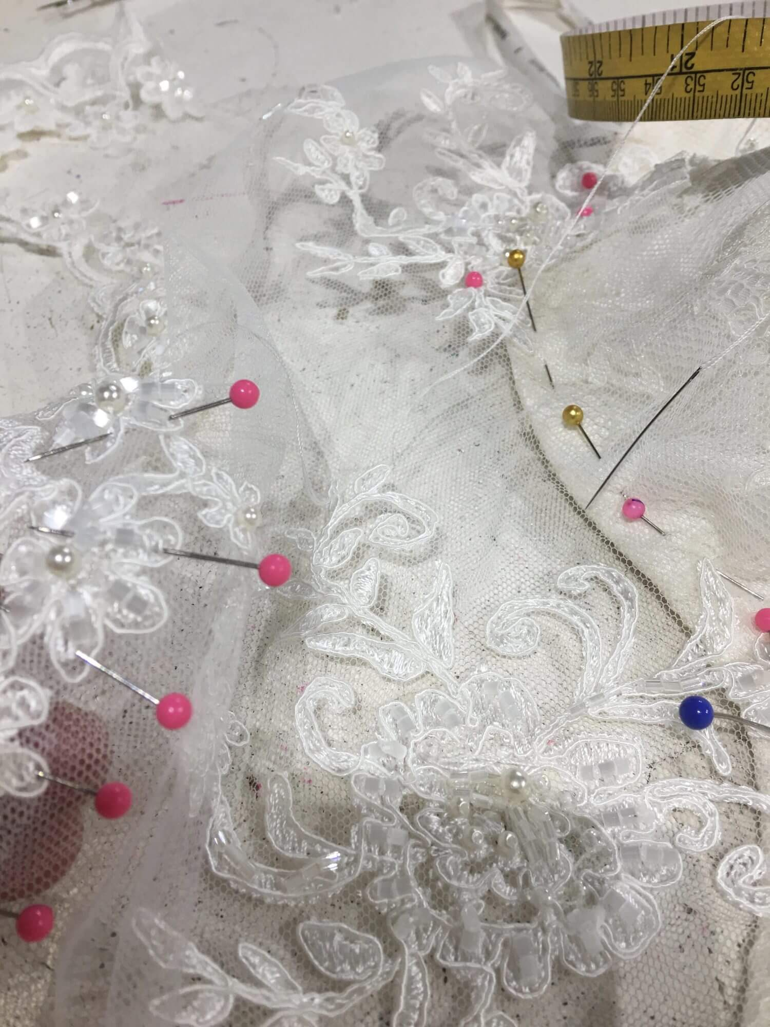 Alterations service for the Bride, Bridesmaids, Flower girls, Mother of Bride. Hand sewing lace appliqué